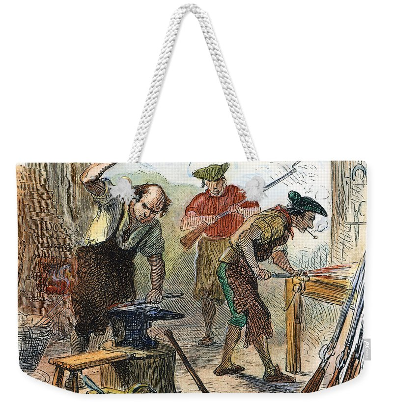 1770s Weekender Tote Bag featuring the photograph Colonial Blacksmith, 1776 by Granger