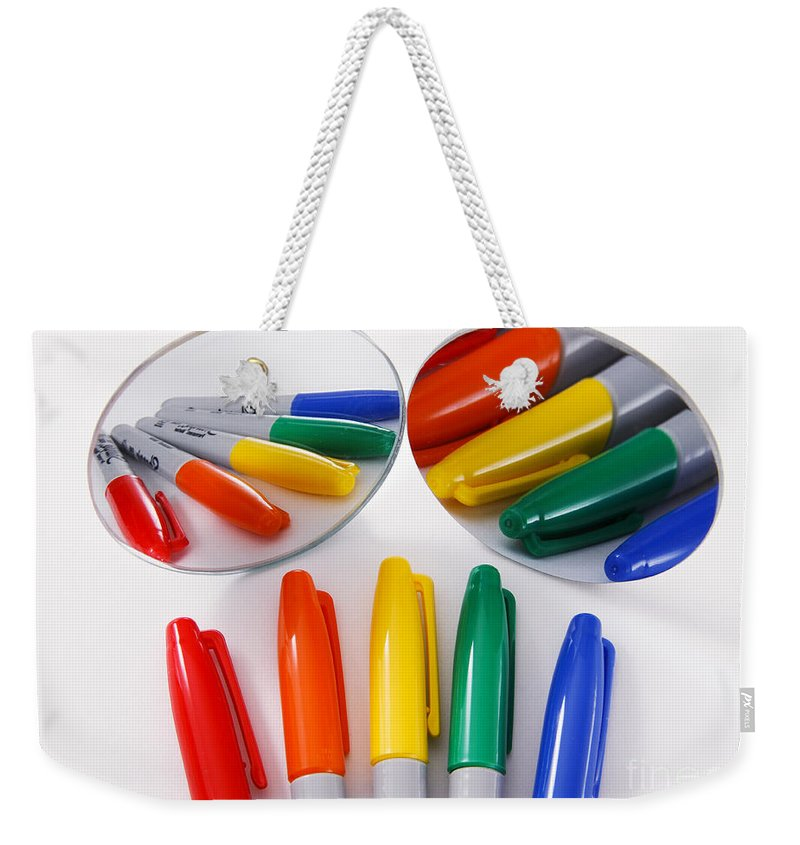 Object Weekender Tote Bag featuring the photograph Colorful Markers by Photo Researchers