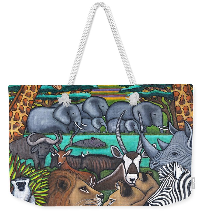 Africa Weekender Tote Bag featuring the painting Colours of Africa by Lisa Lorenz