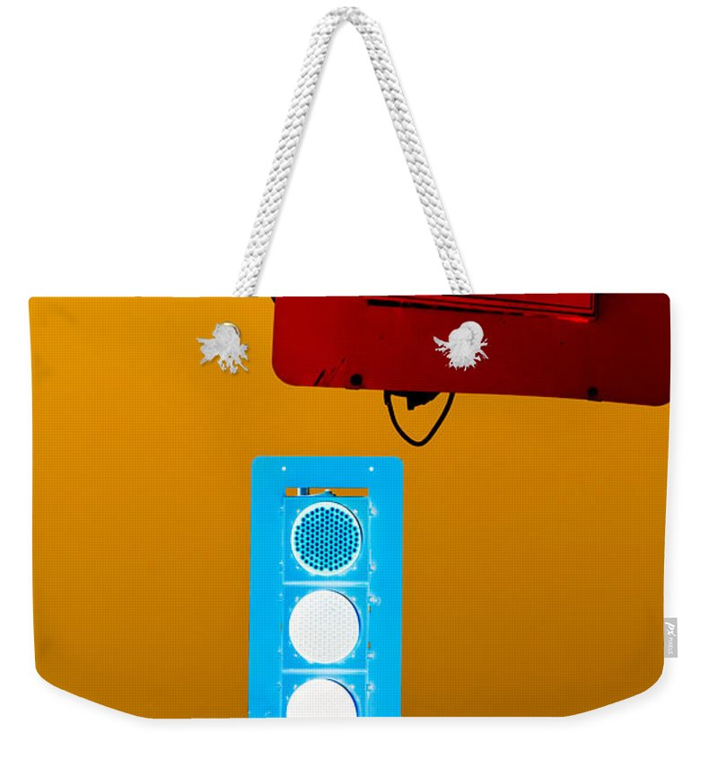 Blue Weekender Tote Bag featuring the photograph Confusing Wrong-color Traffic Lights And Copyspace by Stephan Pietzko