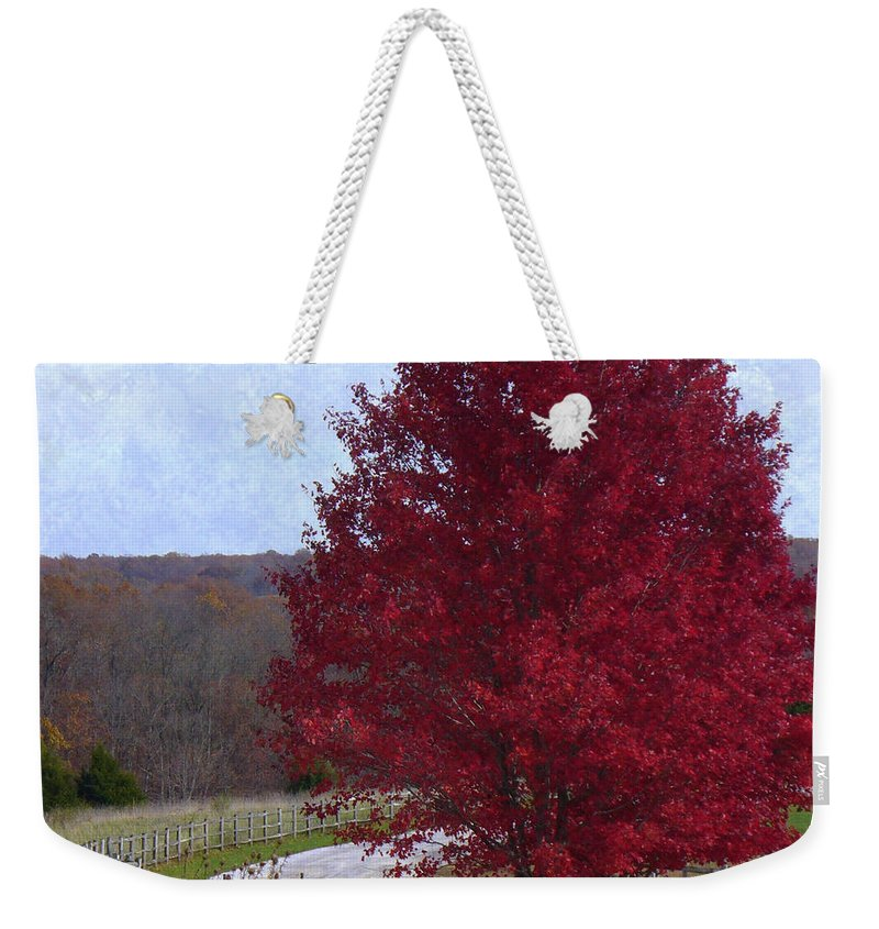 Landscape Weekender Tote Bag featuring the photograph Country Roads by Deena Stoddard