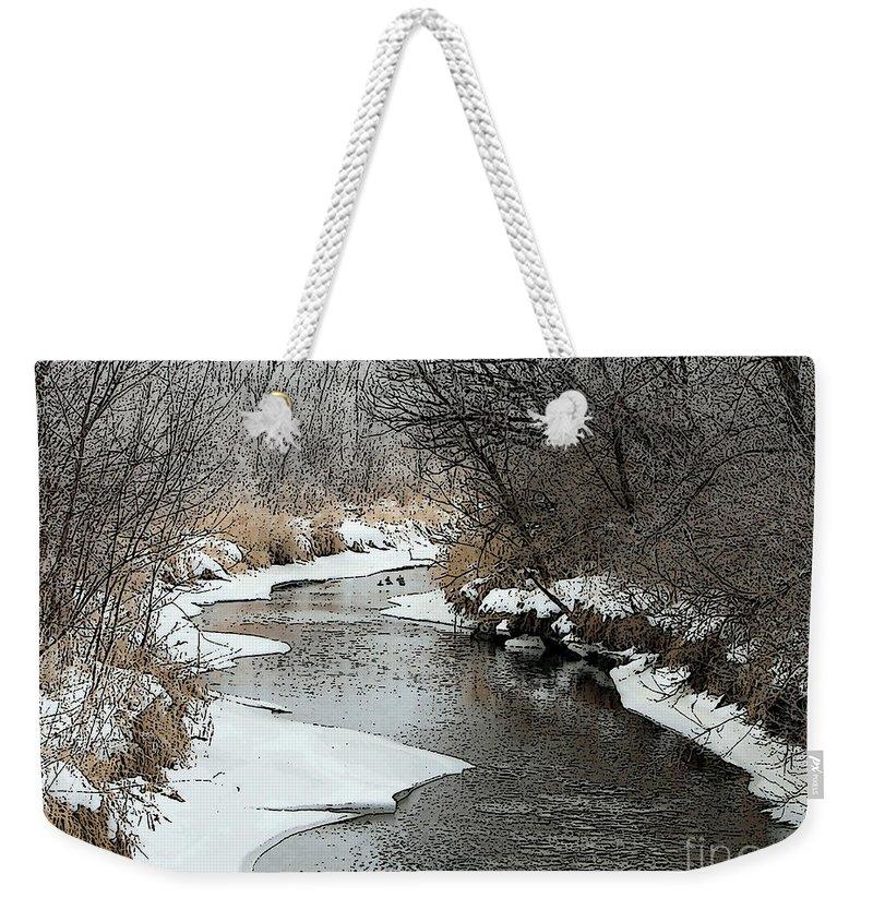 Geese Weekender Tote Bag featuring the photograph Creek by Debbie Hart