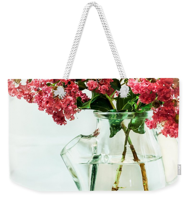 Flower Weekender Tote Bag featuring the photograph Crepe Myrtle In A Vase by Gabrielle Harrison