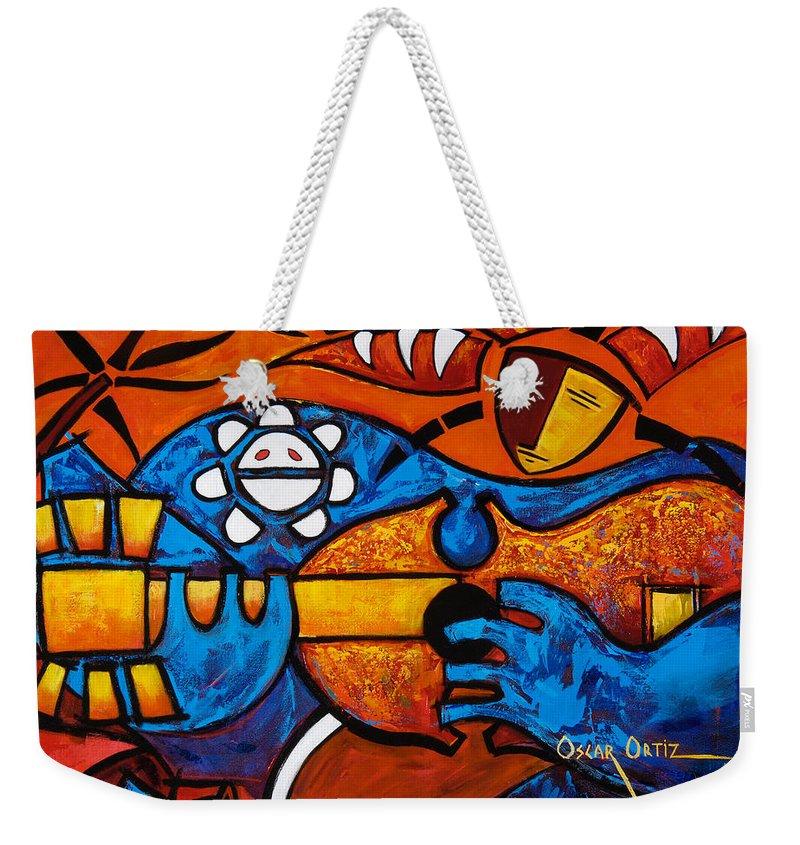 Puerto Rico Weekender Tote Bag featuring the painting Cuatro En Grande by Oscar Ortiz