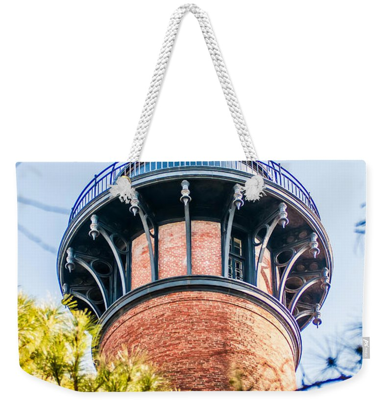 Meadow Weekender Tote Bag featuring the photograph Currituck Beach Lighthouse On The Outer Banks Of North Carolina by Alex Grichenko