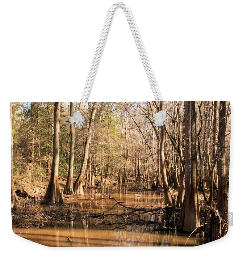 Congaree National Park Weekender Tote Bag featuring the photograph Cypress Waterway by Adam Jewell