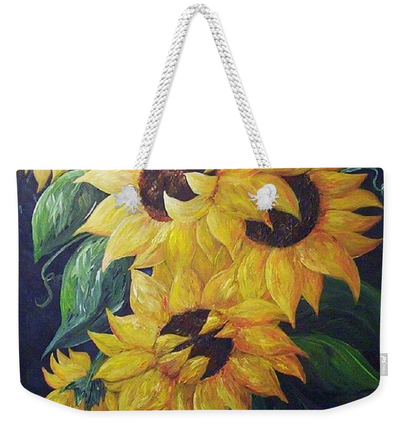 Sunflower Weekender Tote Bag featuring the painting Dancing Sunflowers by Eloise Schneider Mote
