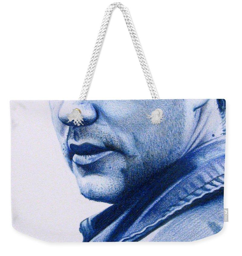 Dave Matthews Weekender Tote Bag featuring the drawing Dave Matthews by Joshua Morton