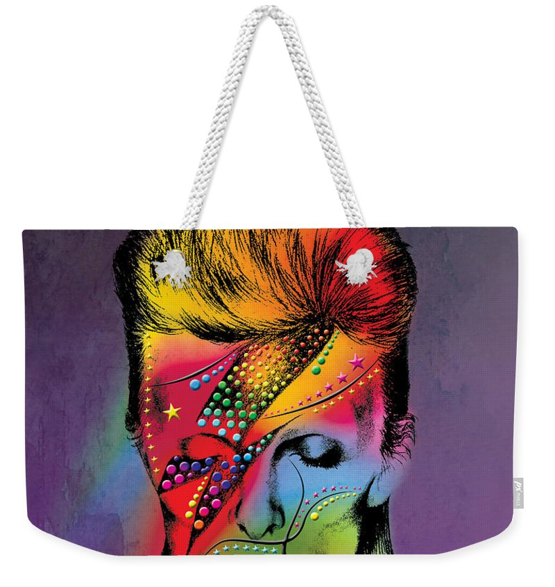 Weekender Tote Bag featuring the photograph David Bowie by Mark Ashkenazi
