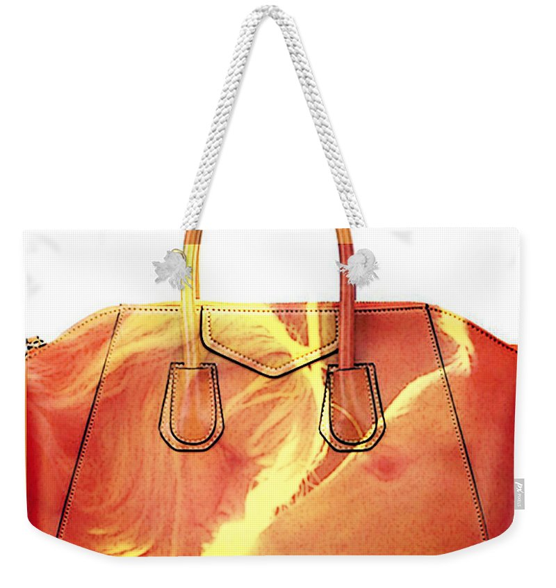 Debbie Weekender Tote Bag featuring the mixed media Debbie And Magnus Purse Painting by Marvin Blaine
