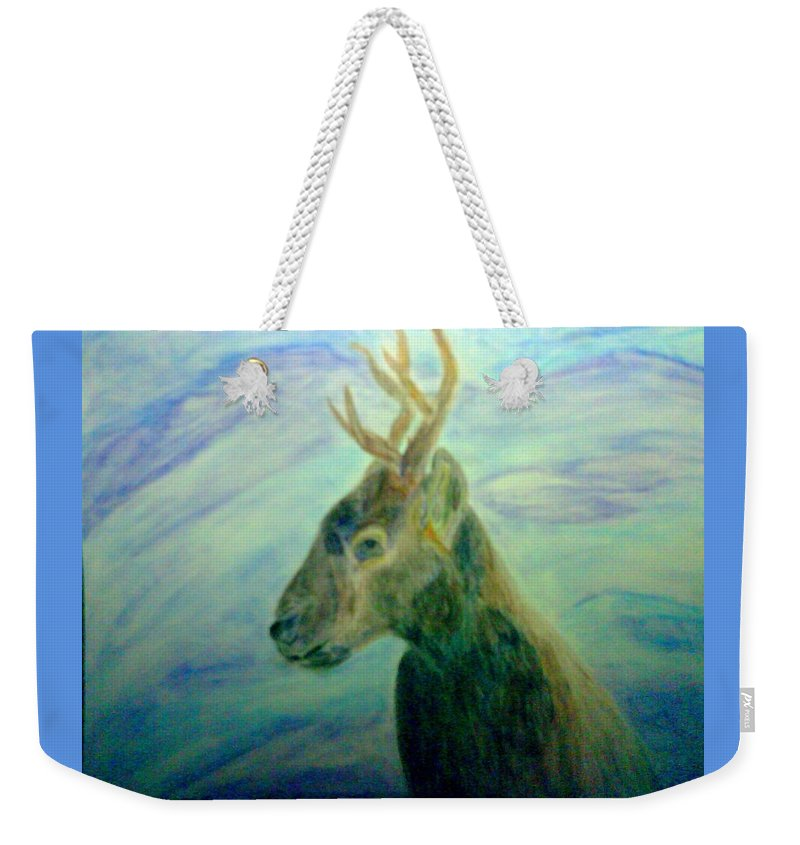 Deer Weekender Tote Bag featuring the mixed media Deer At Home by Suzanne Berthier