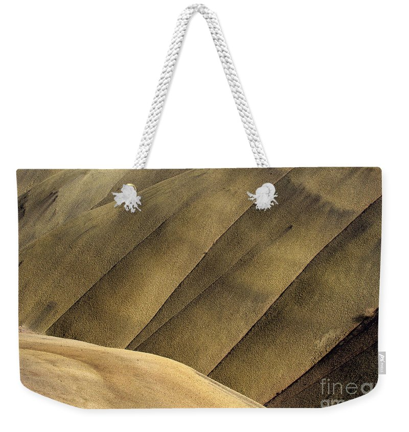 Painted Hills Weekender Tote Bag featuring the photograph Desert Lines by Mike Dawson
