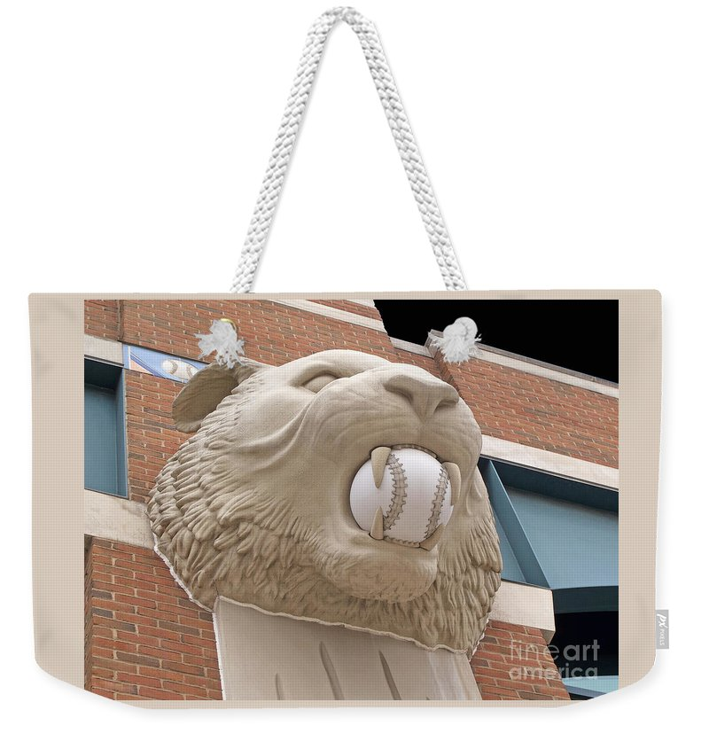 Detroit Weekender Tote Bag featuring the photograph Detroit Tiger Baseball by Ann Horn