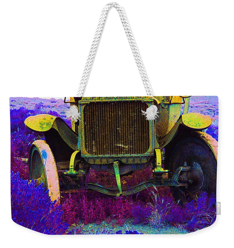 Diamond T Touring Car C.1911 Ghost Town South Pass City Wyoming 1971 Weekender Tote Bag featuring the photograph Diamond T Touring Car C.1911 Ghost Town South Pass City Wyoming 1971-2009 by David Lee Guss