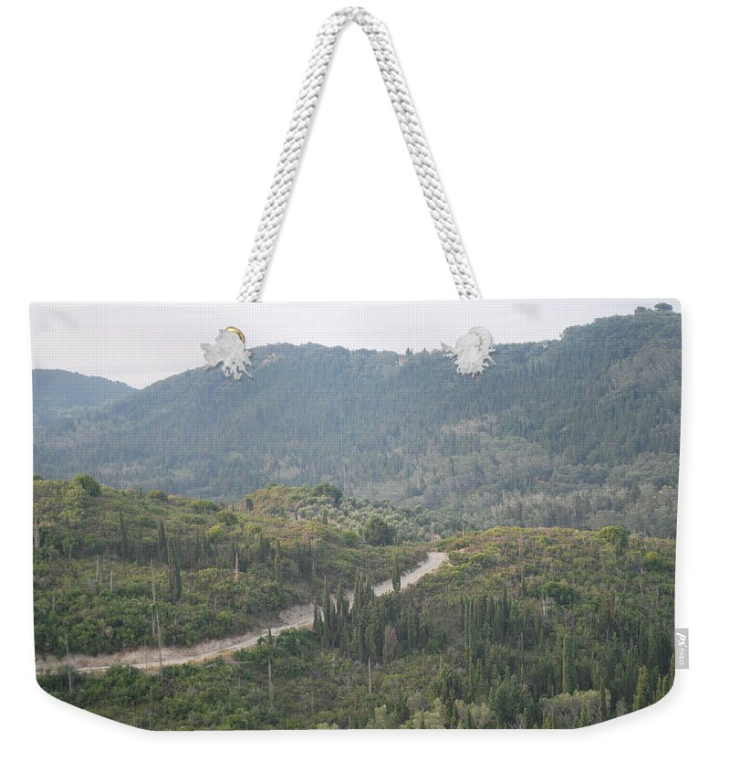 Land Scape Weekender Tote Bag featuring the photograph Dirt Roads 2 by George Katechis