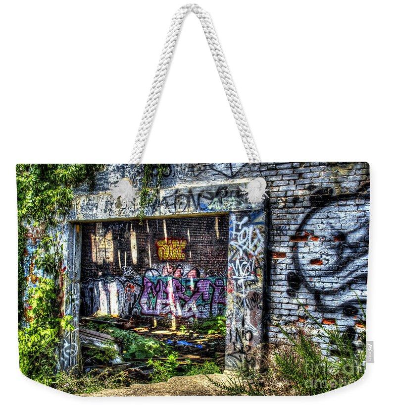 Graffiti Weekender Tote Bag featuring the photograph Address Unknown by Daniel Gundlach