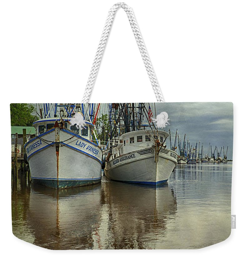 Docked Weekender Tote Bag featuring the photograph Docked by Priscilla Burgers