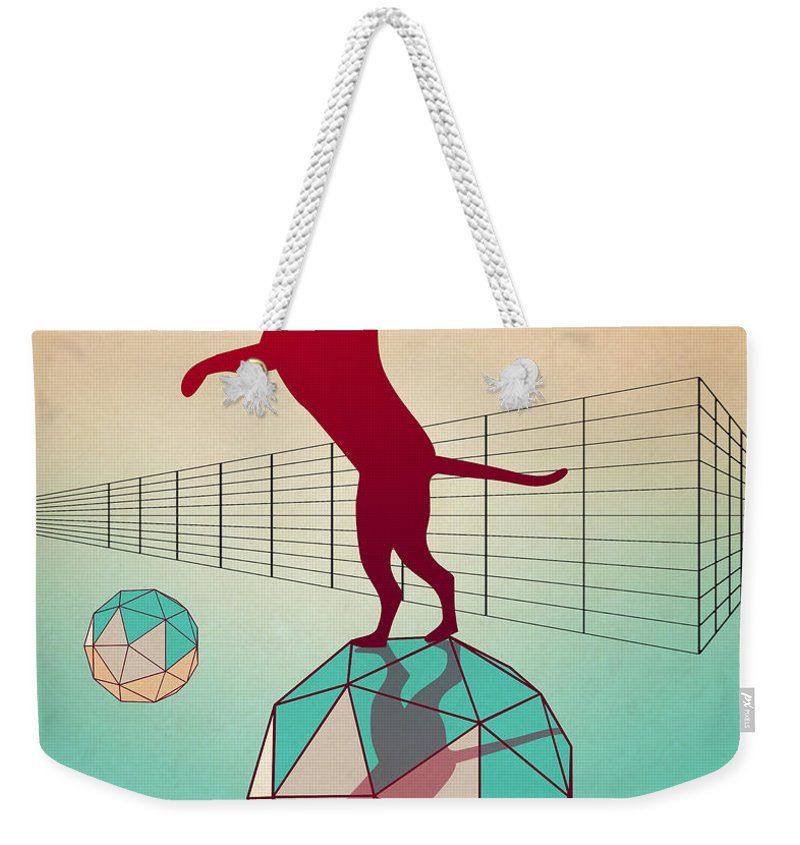 Cat Weekender Tote Bag featuring the digital art dog by Mark Ashkenazi