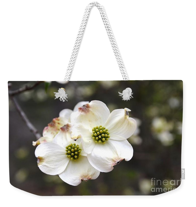 Dogwood Weekender Tote Bag featuring the photograph Dogwood Blooms by Deanna Cagle