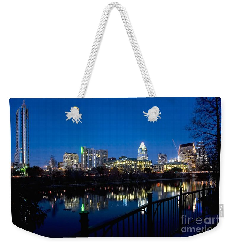 360 Condominiums Weekender Tote Bag featuring the photograph Downtown At Dusk by Bill Cobb