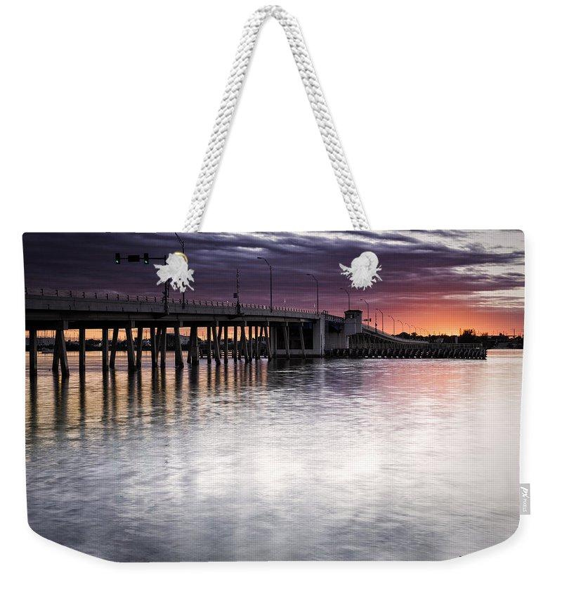Bridge Weekender Tote Bag featuring the photograph Drawbridge At Sunset by Fran Gallogly