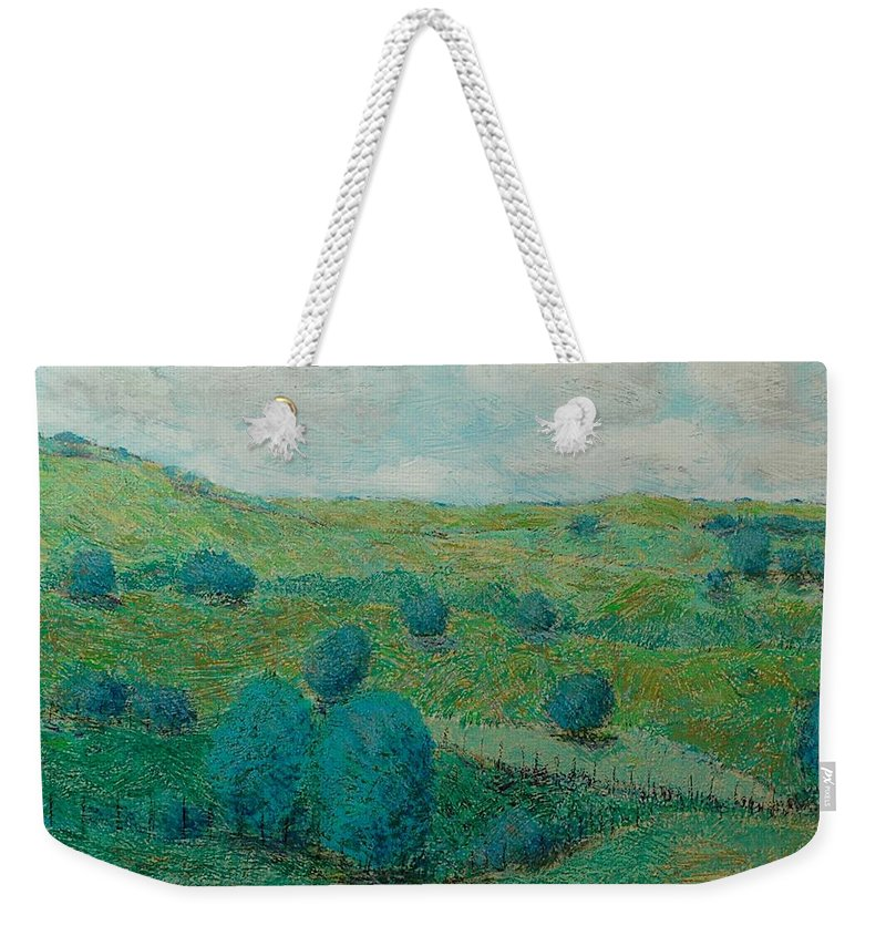Landscape Weekender Tote Bag featuring the painting Dry Hills by Allan P Friedlander