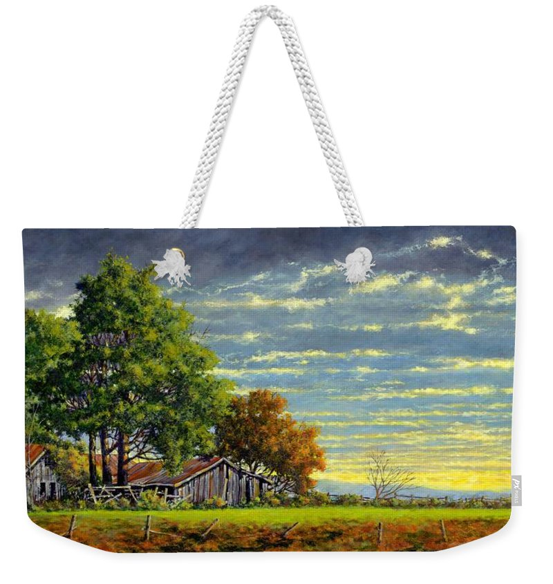Landscape Weekender Tote Bag featuring the painting Dusk by Jim Gola
