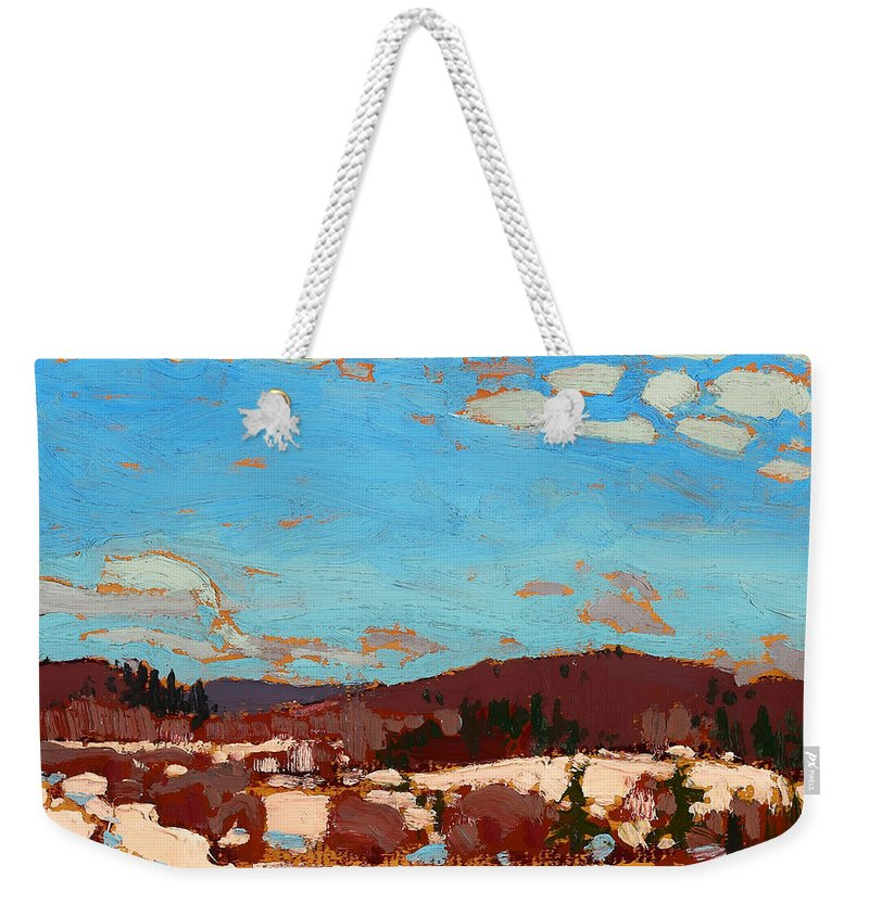 Painting Weekender Tote Bag featuring the painting Early Spring by Mountain Dreams