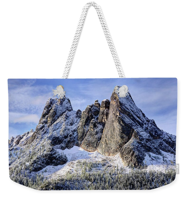 Tranquility Weekender Tote Bag featuring the photograph Early Winter Spires by Virtualphotographers