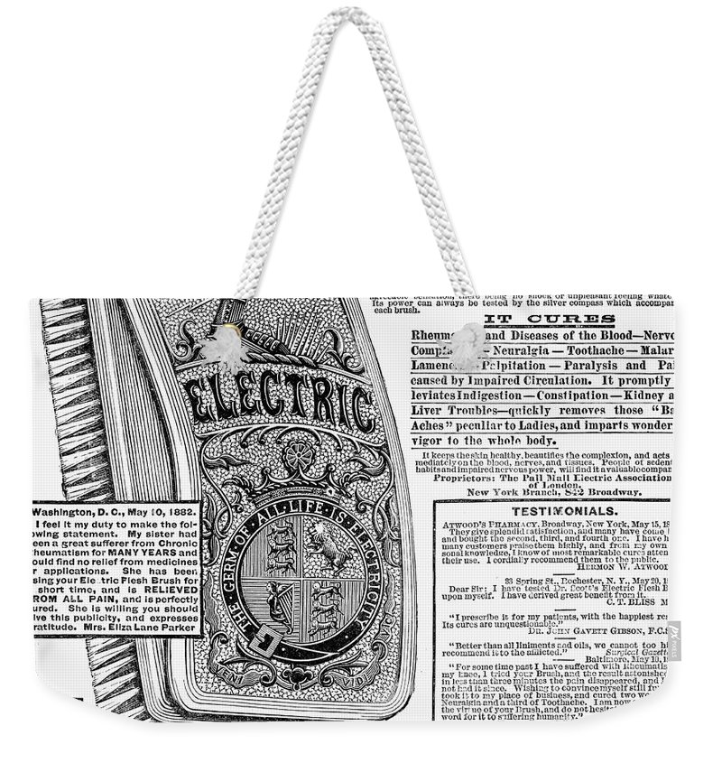 1882 Weekender Tote Bag featuring the photograph Electric Brush, 1882 by Granger