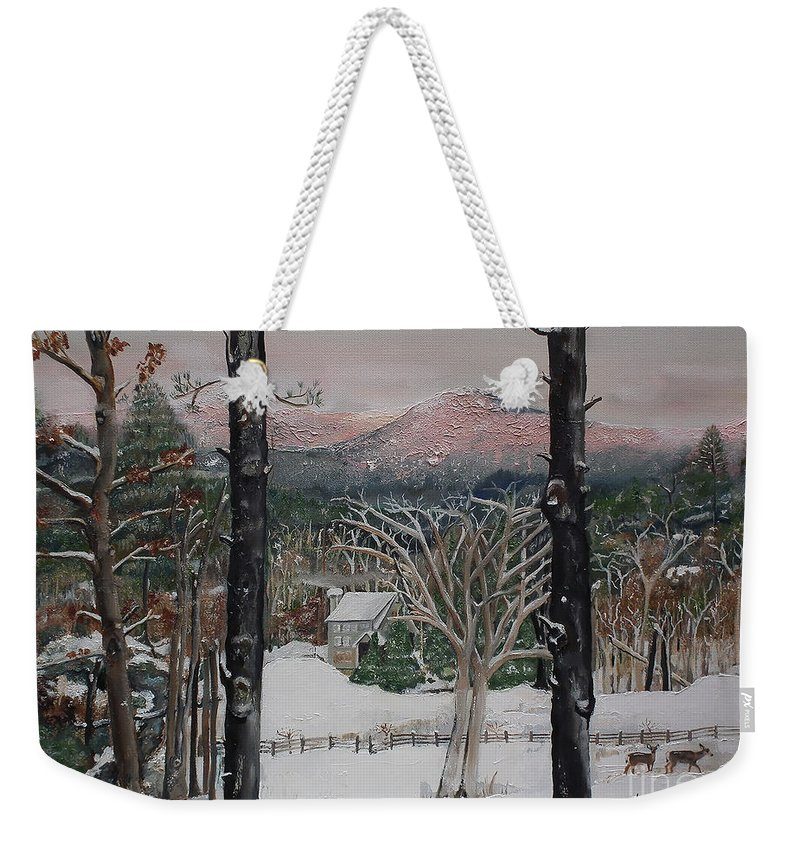 Ellijay Weekender Tote Bag featuring the painting Ellijay - Pink Knob Mountain - Signed by Jan Dappen