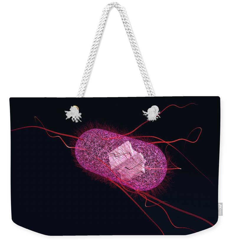 Acid Weekender Tote Bag featuring the photograph Engineered Bacterial, Conceptual by Ella Marus Studio