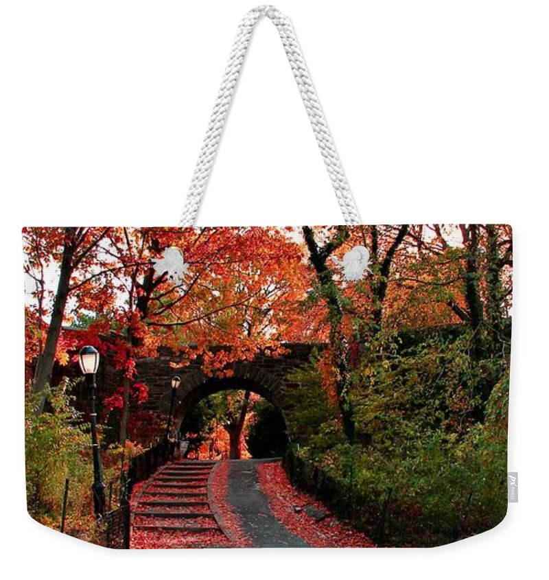 Cloisters Weekender Tote Bag featuring the photograph Fall Path by Catie Canetti