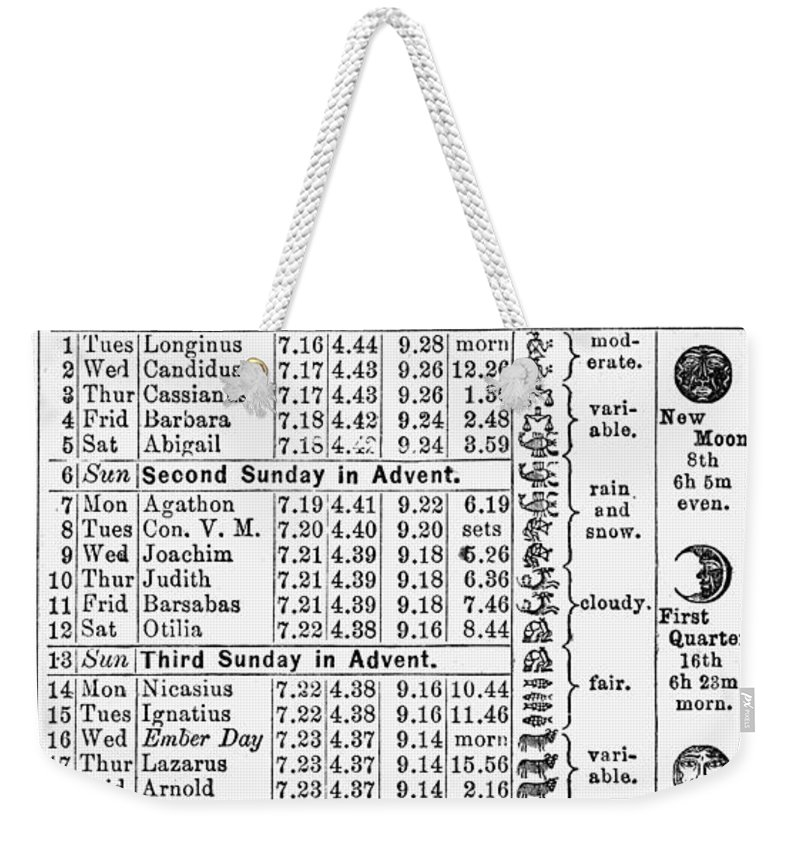 1874 Weekender Tote Bag featuring the photograph Family Almanac, 1874 by Granger
