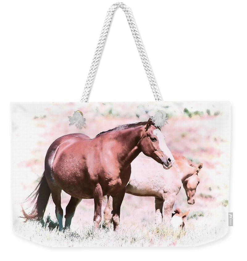Horses Weekender Tote Bag featuring the photograph Family Of Horses by Athena Mckinzie