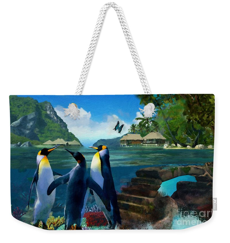 Fantasy Island Weekender Tote Bag featuring the painting Fantasy Island by Liane Wright