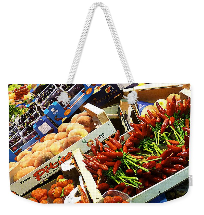 Peppers Weekender Tote Bag featuring the photograph Farmers Market Florence Italy by Irina Sztukowski