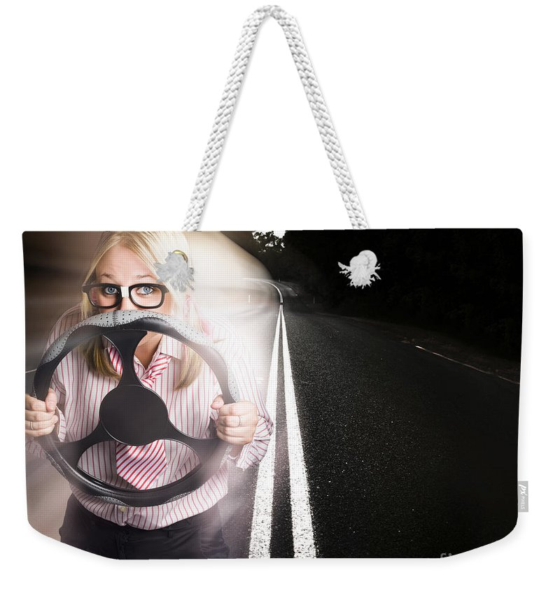 Auto Weekender Tote Bag featuring the photograph Fast Business Woman Driving Car With Light Trails by Jorgo Photography - Wall Art Gallery