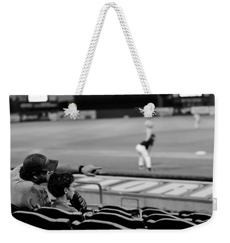 Baseball Weekender Tote Bag featuring the photograph Father To Son by Laura Fasulo