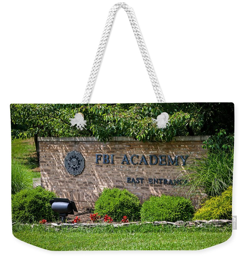 The Fbi Academy Weekender Tote Bag featuring the photograph Fbi Academy Quantico by Sennie Pierson