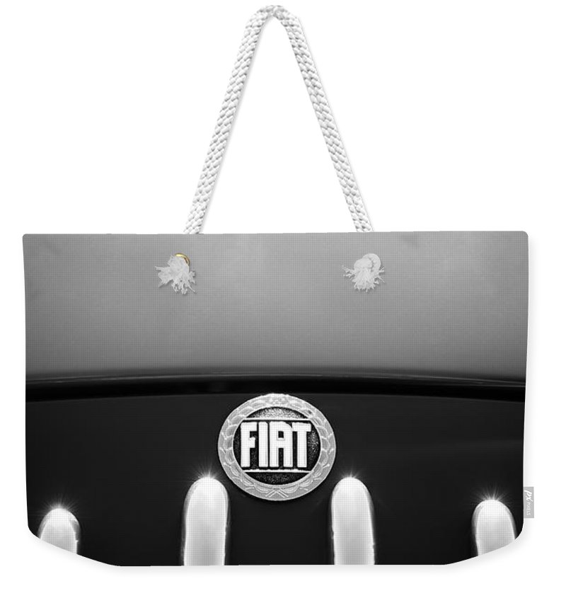 Fiat 750 Mm Zagato Panoramica Coupe Grille Emblem Weekender Tote Bag featuring the photograph Fiat 750 Mm Zagato Panoramica Coupe Grille Emblem by Jill Reger