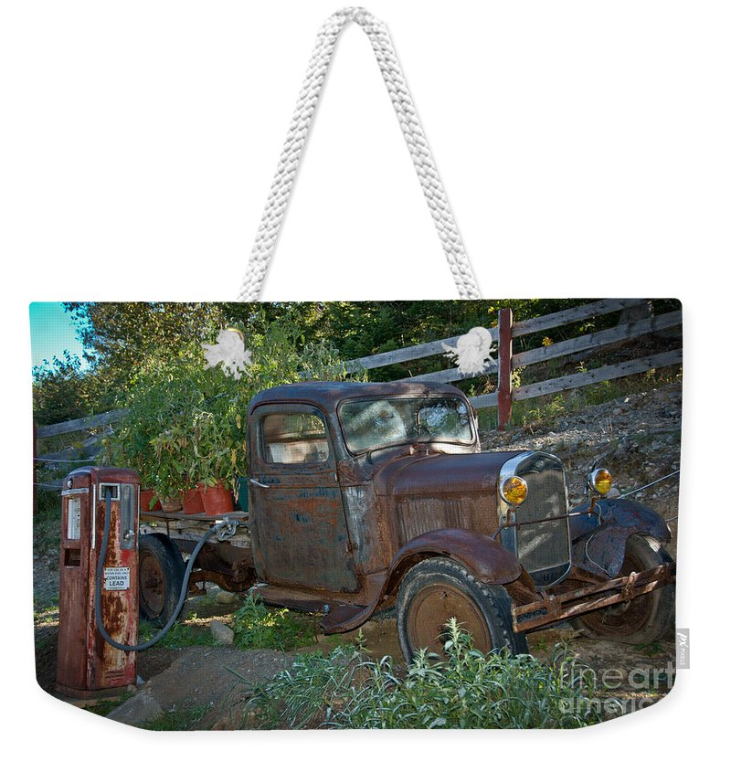 Antique Weekender Tote Bag featuring the photograph Fill Er Up by Cheryl Baxter