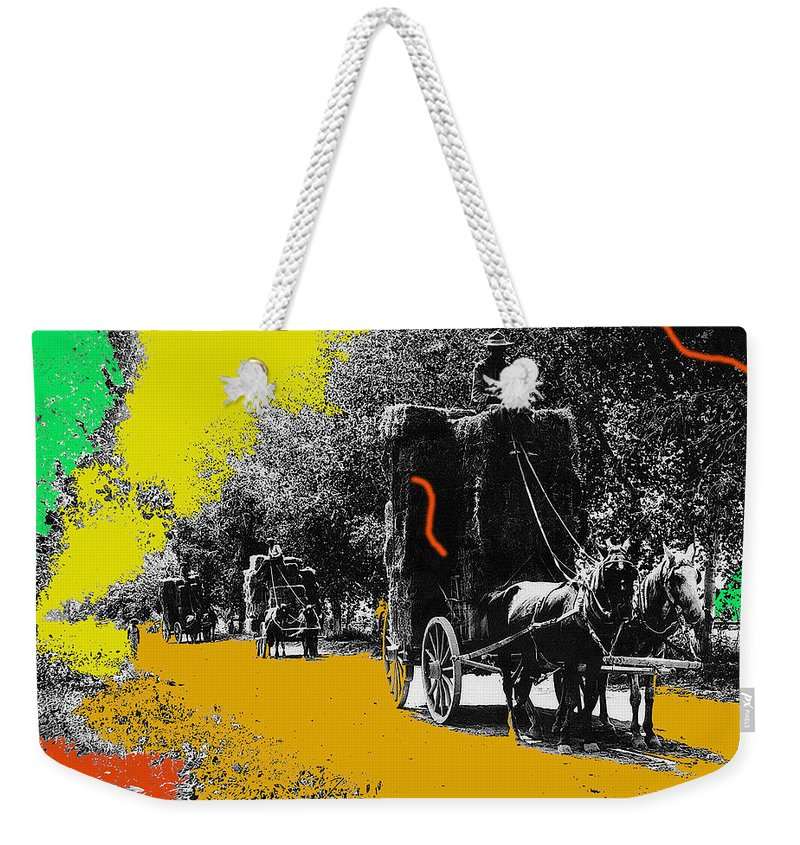 Film Homage Haskell Wexler Days Of Heaven Hay Wagons 1878-2008 Weekender Tote Bag featuring the photograph Film Homage Haskell Wexler Days Of Heaven Hay Wagons 1878-2008 by David Lee Guss