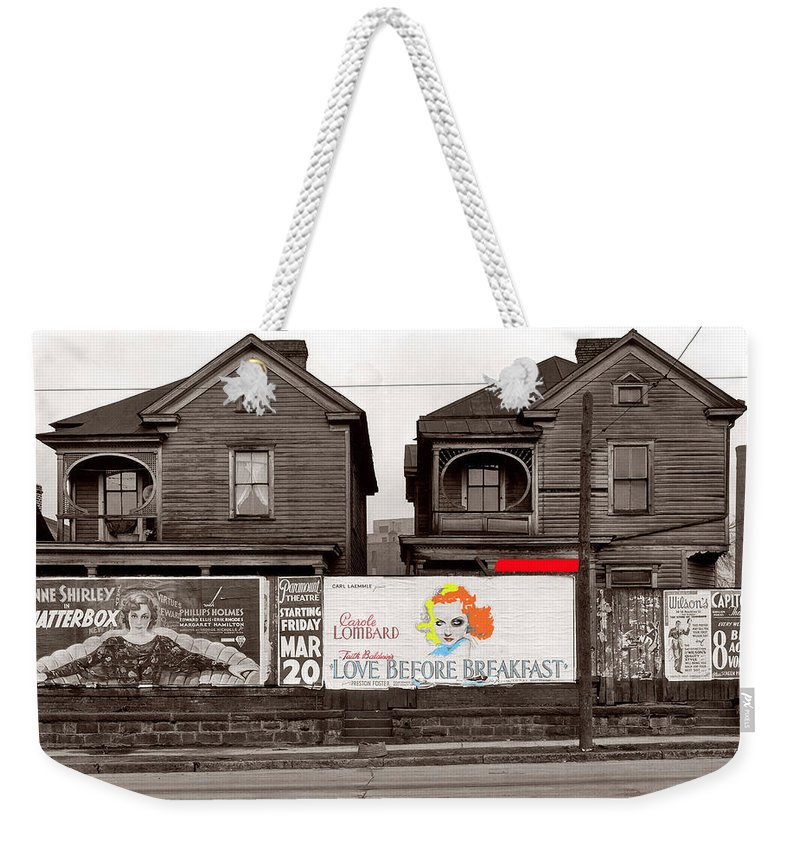 Film Homage Walker Evans Carole Lombard Love Before Breakfast 1936 Atlanta Georgia Color Added Weekender Tote Bag featuring the photograph Film Homage Walker Evans Carole Lombard Love Before Breakfast 1936 Atlanta Georgia Color Added 2009 by David Lee Guss