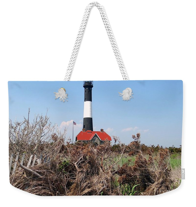 Nature Weekender Tote Bag featuring the photograph Fire Island Lighthouse by Ed Weidman