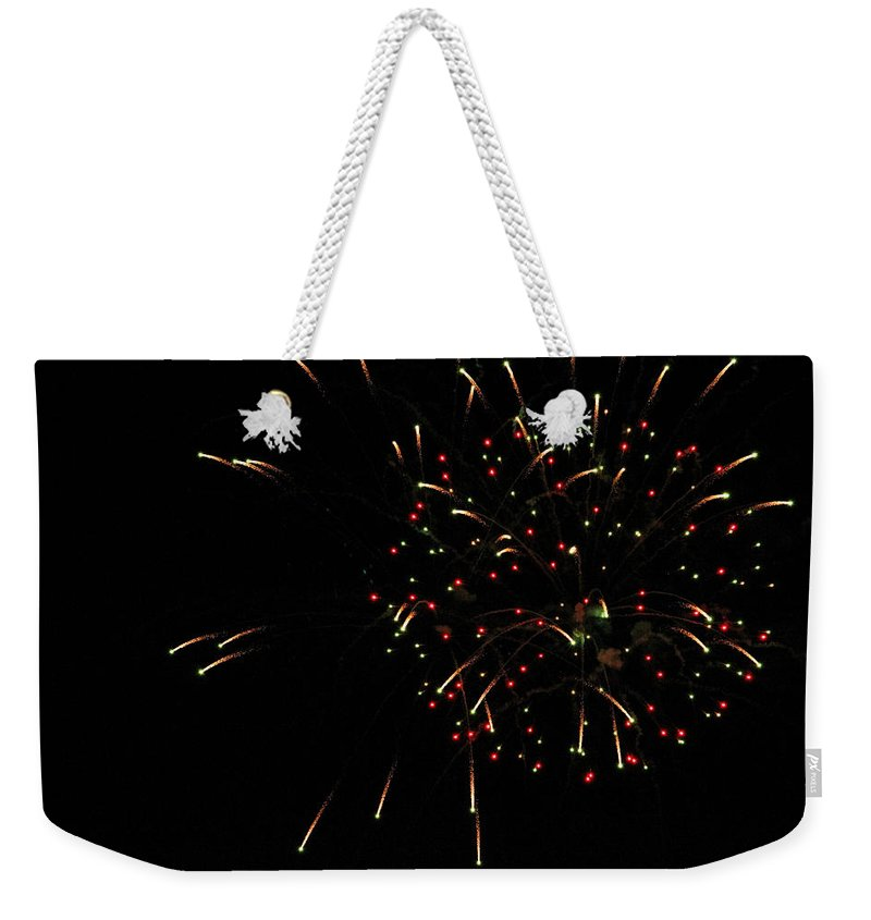 Fire Weekender Tote Bag featuring the photograph Fireworks by Becca Buecher