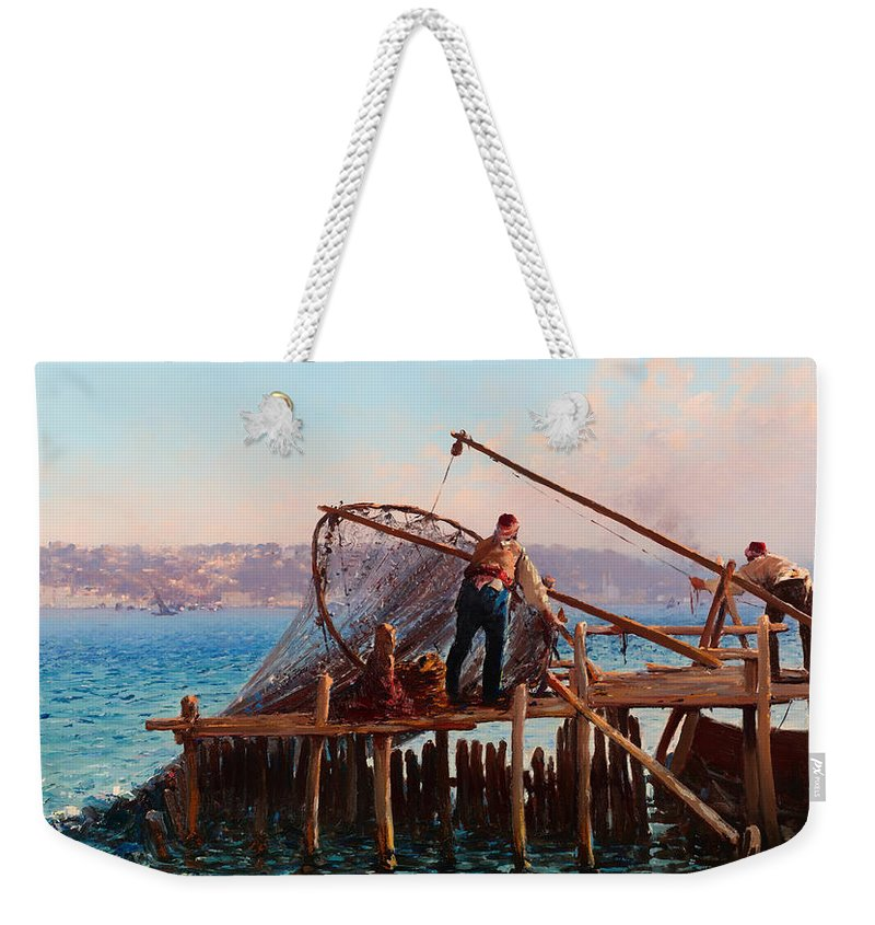 Painting Weekender Tote Bag featuring the painting Fishermen Bringing In The Catch by Mountain Dreams