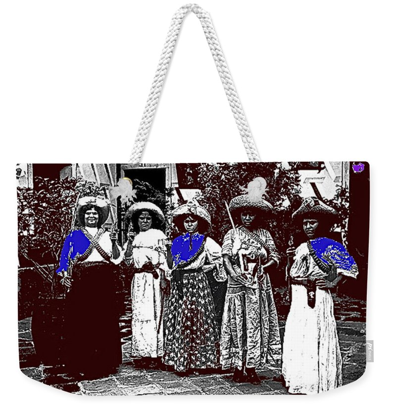 Five Female Revolutionary Soldiers Unknown Mexico Location Or Date Weekender Tote Bag featuring the photograph Five Female Revolutionary Soldiers Unknown Mexico Location Or Date-2014 by David Lee Guss