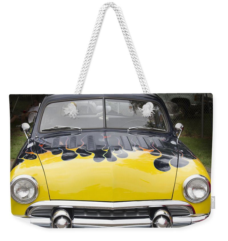 American Weekender Tote Bag featuring the photograph Flaming Ford by Jack R Perry