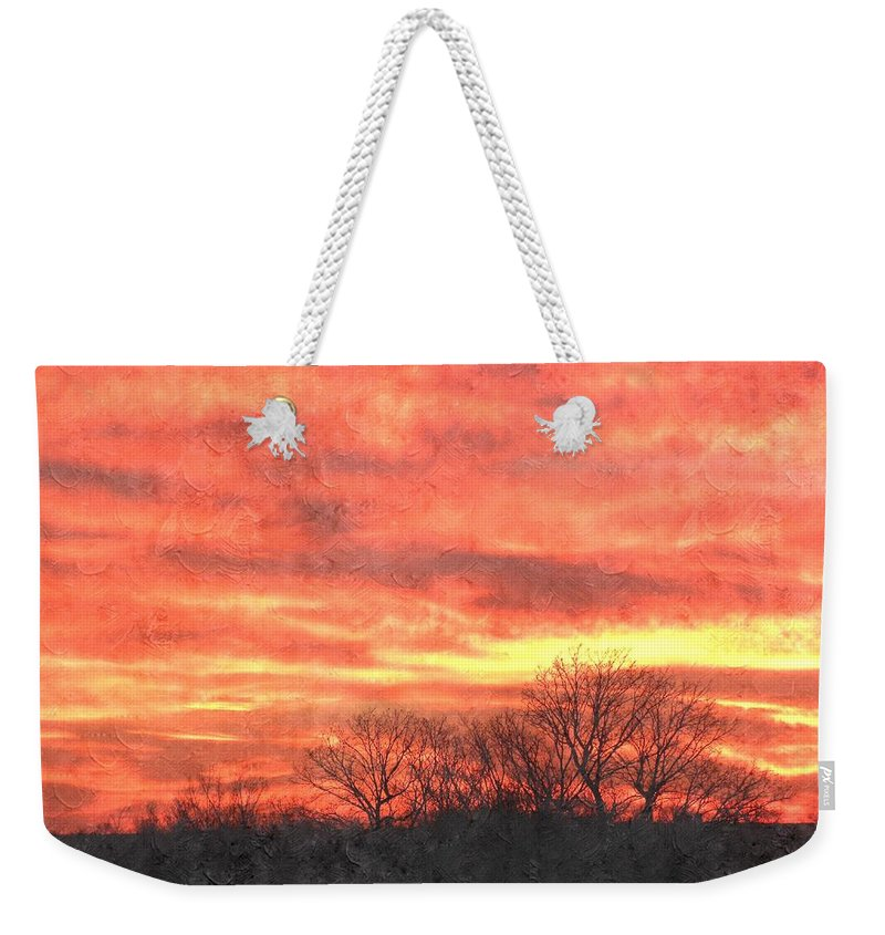 Flaming Sunset Weekender Tote Bag featuring the photograph Flaming Sunset by Annie Adkins